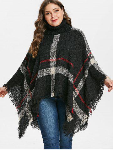 Plus Size Turtleneck Poncho Sweater