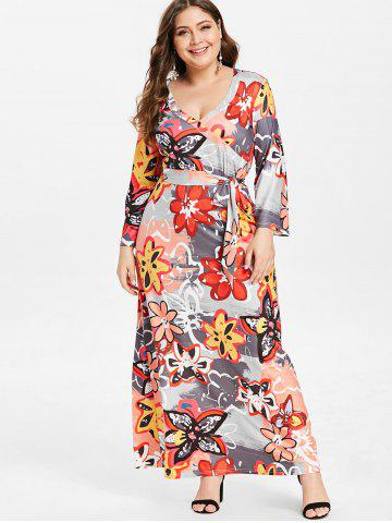 Plus Size Belted Floral Print Maxi Dress