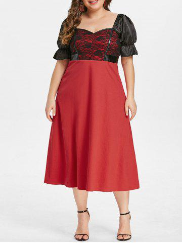 Plus Size Lace Insert Flare Sleeve Dress - RED - 1X