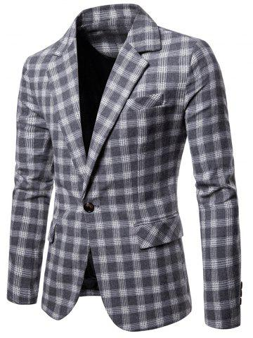 One Button Lapel Collar Checked Blazer