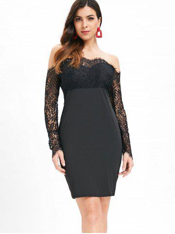 Slash Neck Lace Panel Bodycon Dress