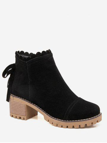 Plus Size Bow Back Suede Chunky Heel Boots