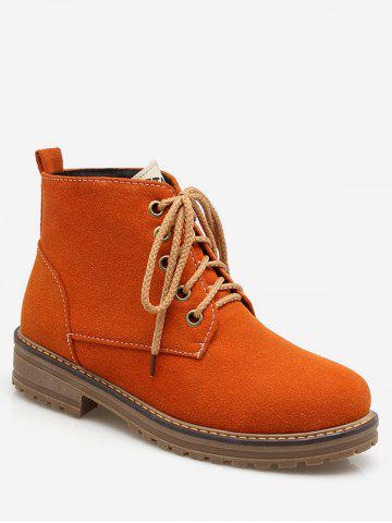 Plus Size Contrast Lace Up Suede Ankle Boots