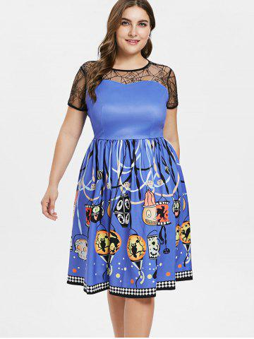 Plus Size Spider Web Fit and Flare Dress