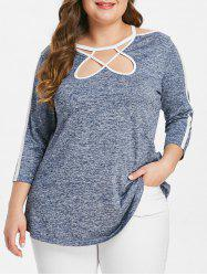 Plus Size Cut Out Space Dyed T-shirt -