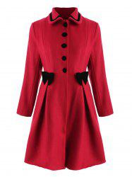Bowknot Embellished Plus Size Longline Coat -