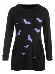 Plus Size Halloween Lace Insert Cowl Neck T-shirt -