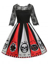 Plus Size Graphic Lace Halloween Dress -
