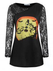 Plus Size Graphic Lace Trim Halloween T-shirt -