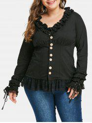 Plus Size Ruffled Buttons Lace Panel Jacket -