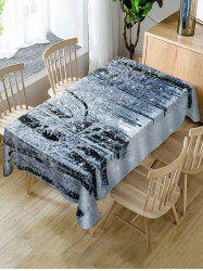 Christmas Snow Forest Print Fabric Waterproof Table Cloth -