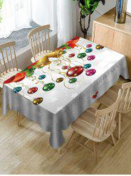 Merry Christmas Bell Ball Print Fabric Waterproof Table Cloth -