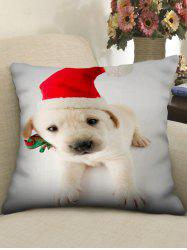 Christmas Puppy Printed Linen Pillowcase -