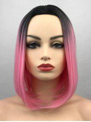 Middle Part Ombre Short Straight Bob Synthetic Wig -