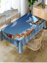 Christmas Sleigh Deer Print Fabric Waterproof Table Cloth -