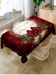 Merry Christmas Bell Print Fabric Waterproof Table Cloth -