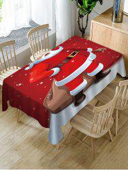 Father Christmas Print Fabric Waterproof Table Cloth -