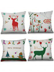 4PCS Christmas Snowman Elk Gift Printed Pillowcases -
