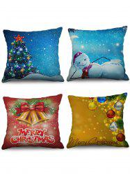 4PCS Christmas Tree Bell Snowman Printed Pillowcases -