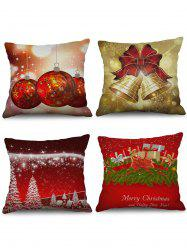 4PCS Christmas Tree Bell Gift Printed Pillowcases -