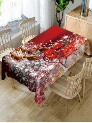 Christmas Sleigh Elk Print Fabric Waterproof Table Cloth -