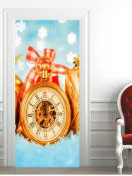Christmas Time Clock Printed Door Stickers -