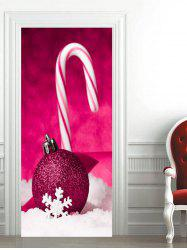 Christmas Candy Stick Baubles Printed Door Stickers -