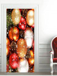 Christmas Colorful Baubles Printed Door Stickers -