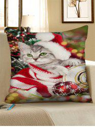 Christmas Cat Bauble Printed Throw Pillow Case -