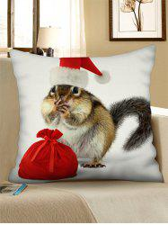 Christmas Squirrel Printed Throw Pillow Case -