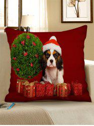 Christmas Tree Dog Gifts Printed Throw Pillow Case -