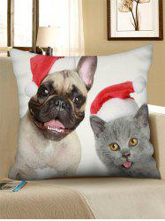 Christmas Cat Dog Pattern Throw Pillow Case -