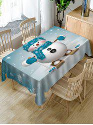 Christmas Snowman Skiing Print Fabric Waterproof Table Cloth -