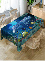 Sea World Whale Print Fabric Waterproof Table Cloth -