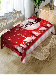 Christmas Night Deer Print Fabric Waterproof Table Cloth -