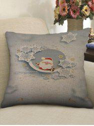 Christmas Santa Claus Print Sofa Decorative Linen Pillowcase -