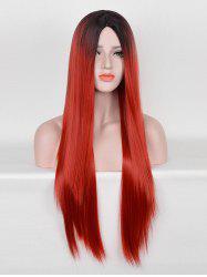 Middle Part Long Ombre Straight Party Cosplay Synthetic Wig -