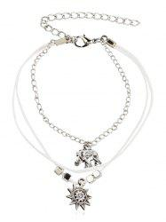 Layered Elephant and Floral Beaded Anklet Chain -