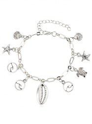 Metal Turtle and Starfish Embellished Anklet Chain -