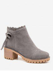 Plus Size Bow Back Suede Chunky Heel Boots -
