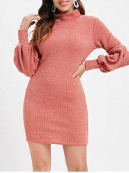 Lantern Sleeve Plain Sweater Dress -