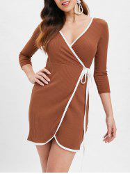 Mini Ribbed Wrap Dress -