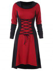 Color Block Criss Cross Gothic Hooded Dress -