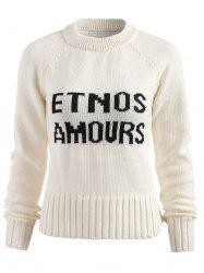 Contrast Letter Print Pullover Sweater -