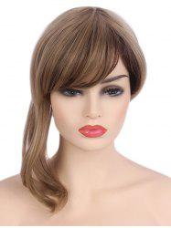 Medium Side Bang Asymmetric Colormix Straight Synthetic Wig -