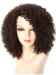 Medium Side Bang Kinky Curly Party Synthetic Wig -