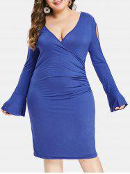 Plus Size Cut Out Sleeve Solid Color Bodycon Dress -