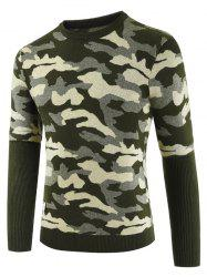 Camouflage Pattern Patchwork Casual Sweater -