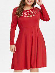 Plus Size Cut Out Long Sleeve Dress -