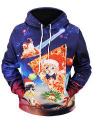 Christmas Pizza Cat Print Pullover Hoodie -
